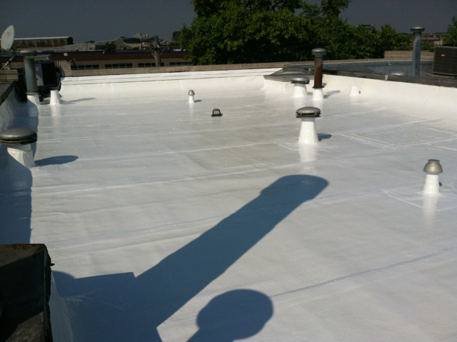 Finished look of roof coating