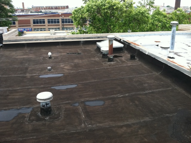 Leaking Roof Before Roof Coating