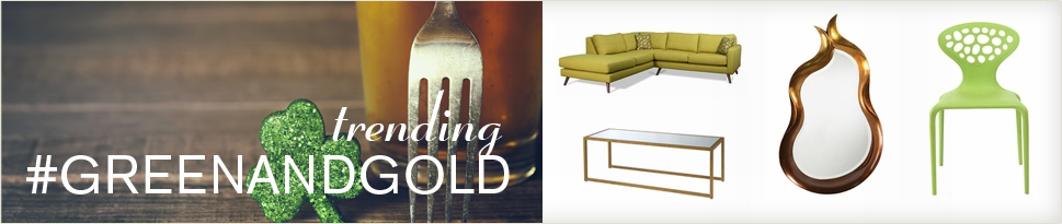 Shop green & gold furniture, lighting & decor