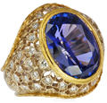 Custom Designed Tanzanite & Gold Ring