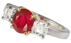 Burma Ruby Gemstone mounted in Platinum Diamond Ring