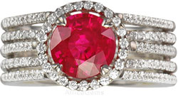 Round Gem Ruby mounted in Diamond 5 Band Ring in 18 kt White Gold