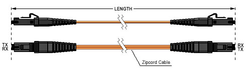 Technical Drawing - MTRJ to MTRJ Fiber Optic Patch Cable