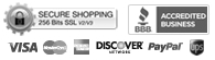 This shopping cart employs the highest industry strength security: 256 bit SSL - BBB Accredited Business - We accept Visa, MasterCard, American Express, Discover, and PayPal - We use UPS