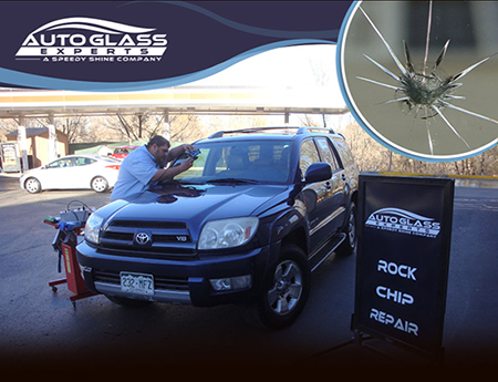 Windshield Rock chip repair at Speedy Shine Express Car Wash by Auto Glass Expert