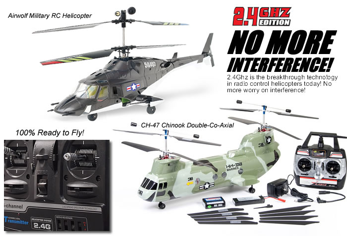 2.4Ghz Spektrum Airwolf, Chinook, Apache RC Helicopters