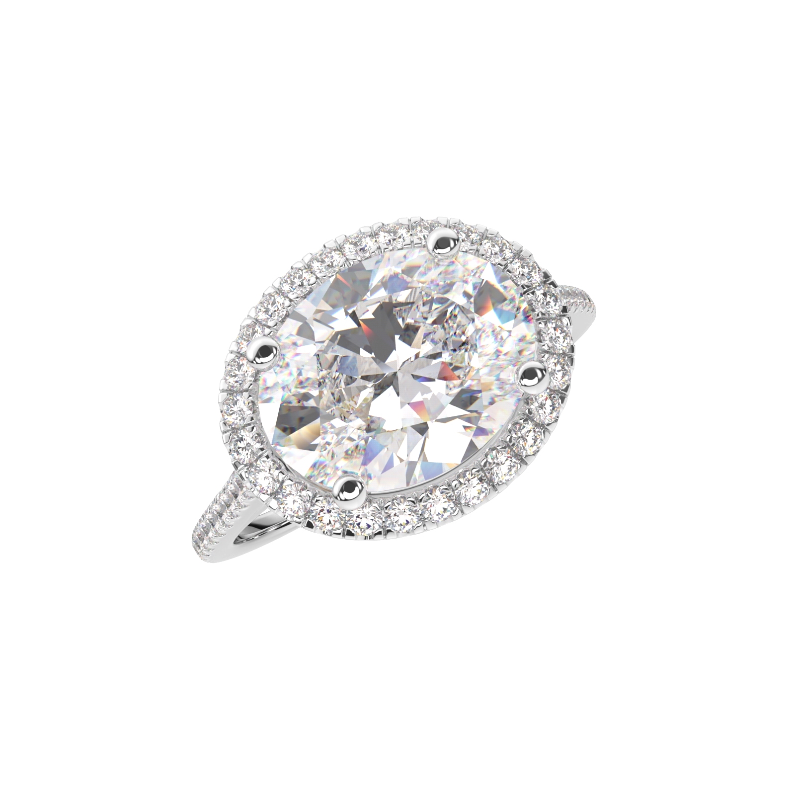 Oval Diamond Engagement Ring Top View