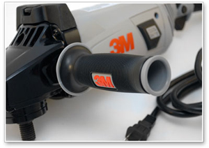 The 3M Electric Variable Speed Rotary Polisher has three possible handle positions.