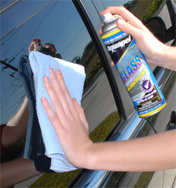 Wipe off Aquapel Windshield Glass Cleaner with a Cobra Waffle Weave Glass Towel to prevent streaks.