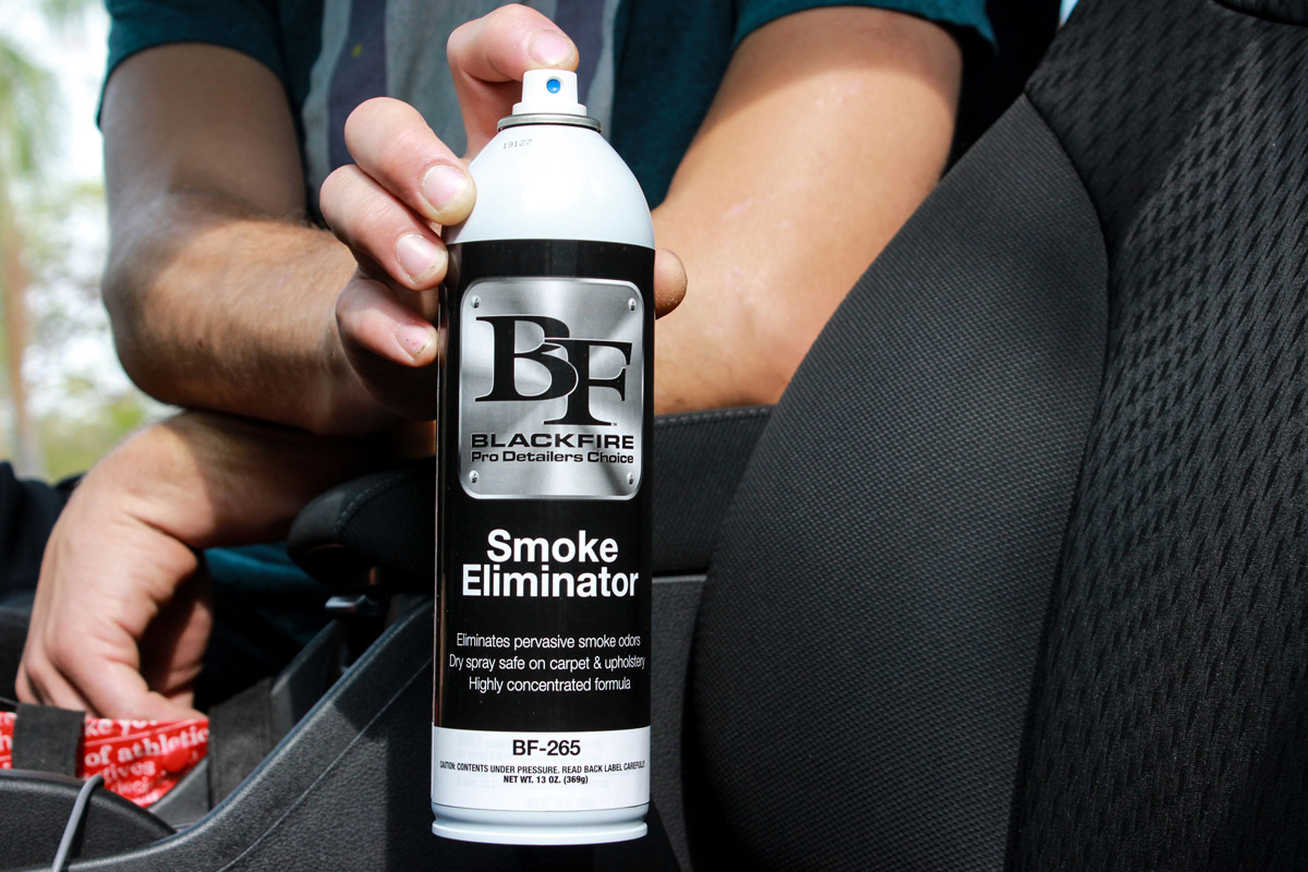 BLACKFIRE Smoke Eliminator's dry spray is safe on all surfaces!