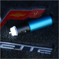 The emergency flashlight comes on automatically when you remove it from the power port.