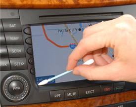 Then use a cotton detailing swab to remove dust from the screen's crevices and corners.