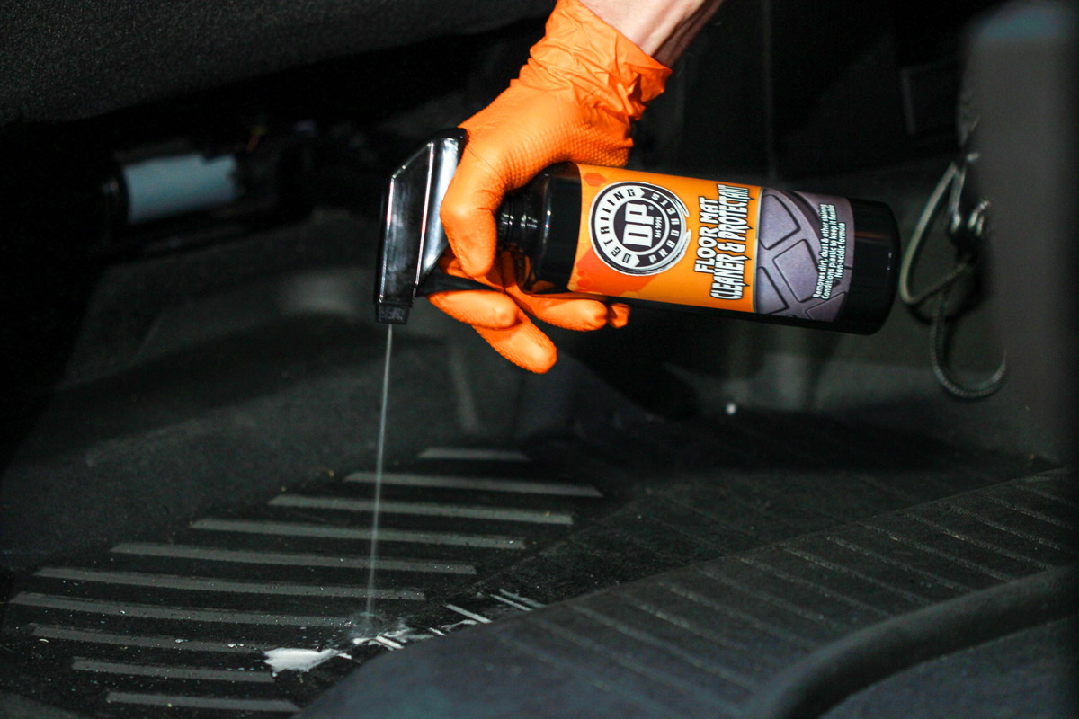 Spray DP Floor Mat Cleaner & Protectant directly onto your floor mat. More soiled mats will require more product.