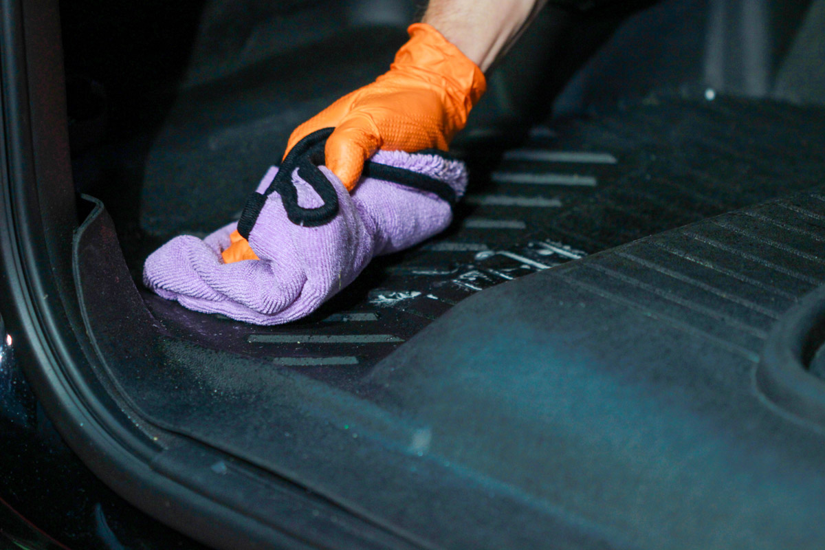 Work the DP Floor Mat Cleaner & Protectant across the surface and wipe dry with a microfiber towel. A brush may need to be used for agitation on more soiled mats.