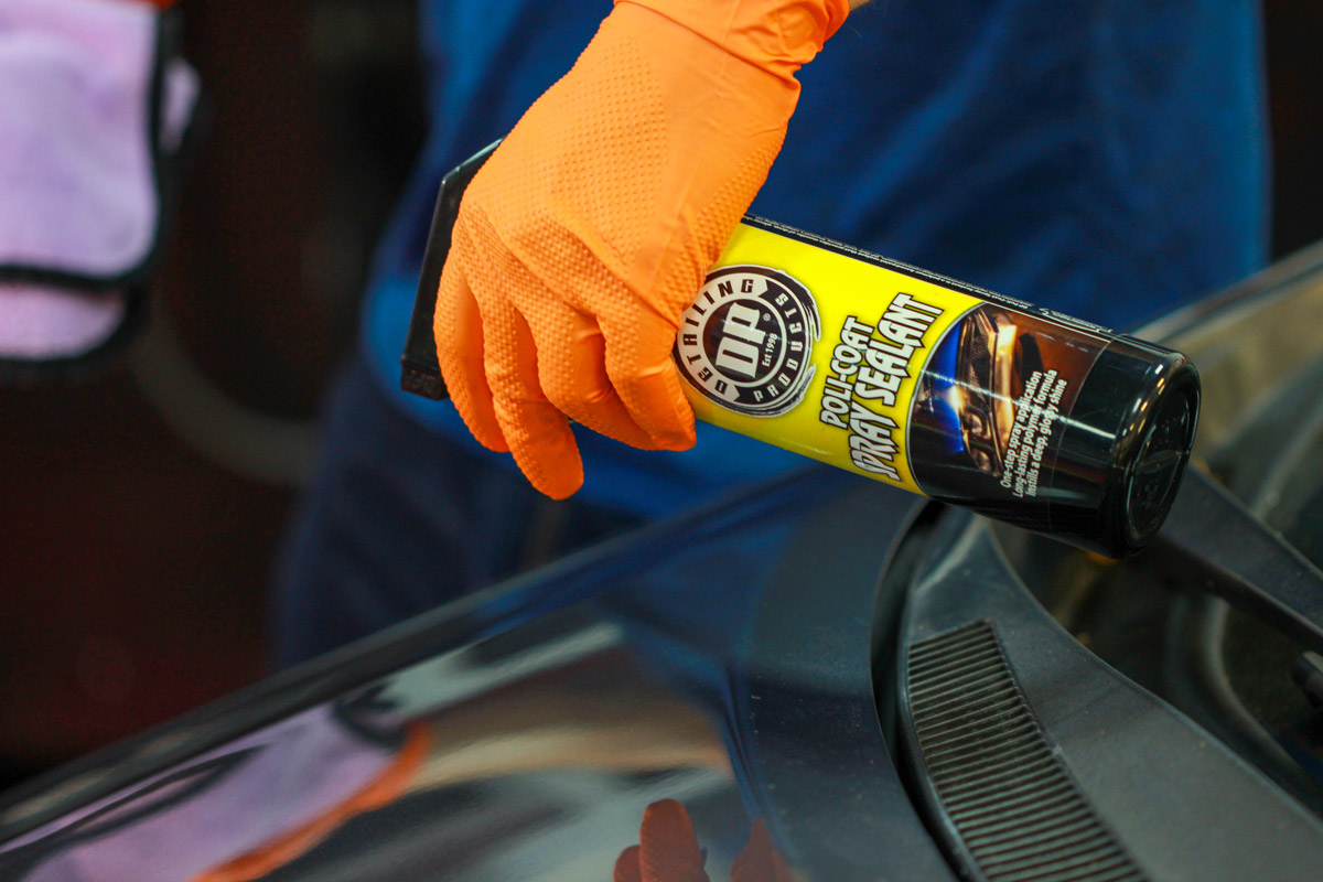 Spray a liberal amount of DP Poli-Coat Spray Sealant directly onto the surface.
