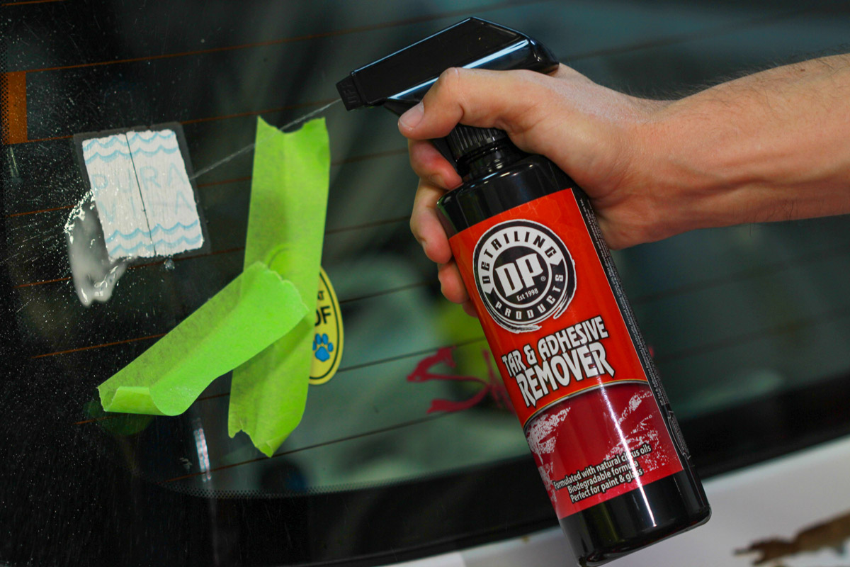 Spray a liberal amount of DP Tar & Adhesive remover directly onto the surface you are working on.