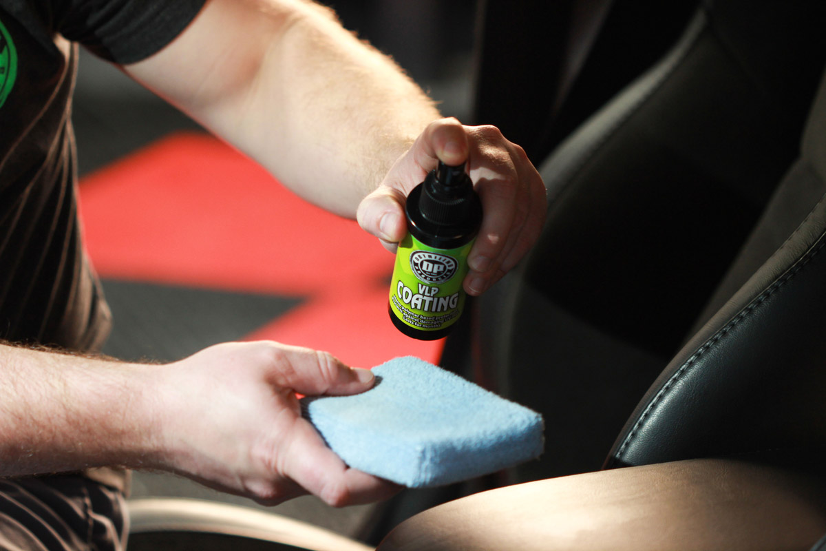 Spray DP VLP Coating onto a microfiber applicator to avoid any unwanted over-spray