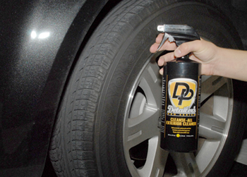 Detailer's Pro Series DP Cleanse-All Exterior Cleaner cleans wheel wells.