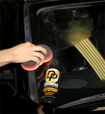 Detailer's Pro Series DP High Performance Glass Restorer gently polishes glass to restore clarity.
