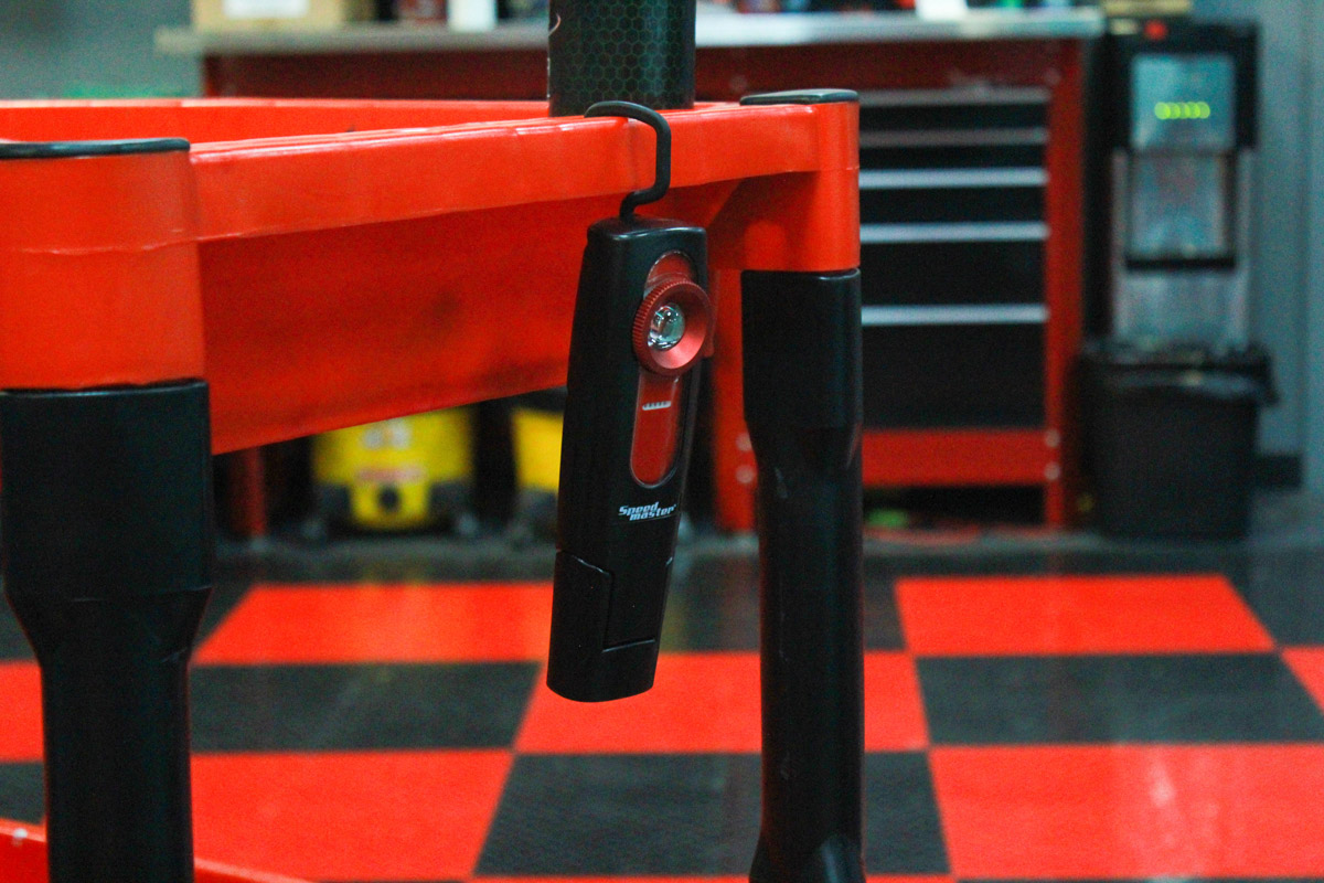 The attached hook on the Speed Master Swirl Finder Detailer Light will allow you to hang it from various surfaces in your interior or even just for easy storage!