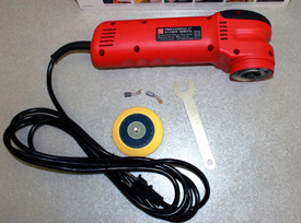 "Griot's Garage 3"" Mini Polisher  includes a backing plate, wrench, and extra brushes."