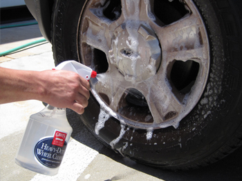 Spray the wheel generously with Griot's Garage Heavy Duty Wheel Cleaner.