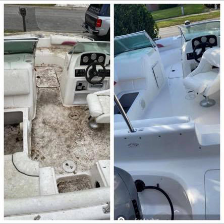 Marine 31 Mildew Remover Gel before and after results. Amazing results in minutes!