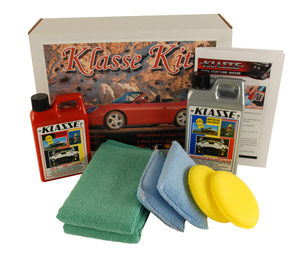 The Klasse Car Care Kit contains Klasse All In One and Klasse High Gloss Sealant Glaze.
