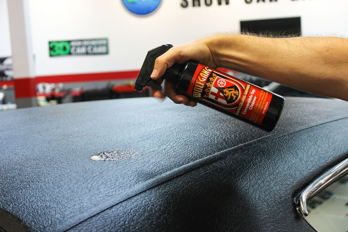 Spray Wolfgang Convertible Top Cleaner directly onto the fabric or vinyl convertible top you are cleaning.