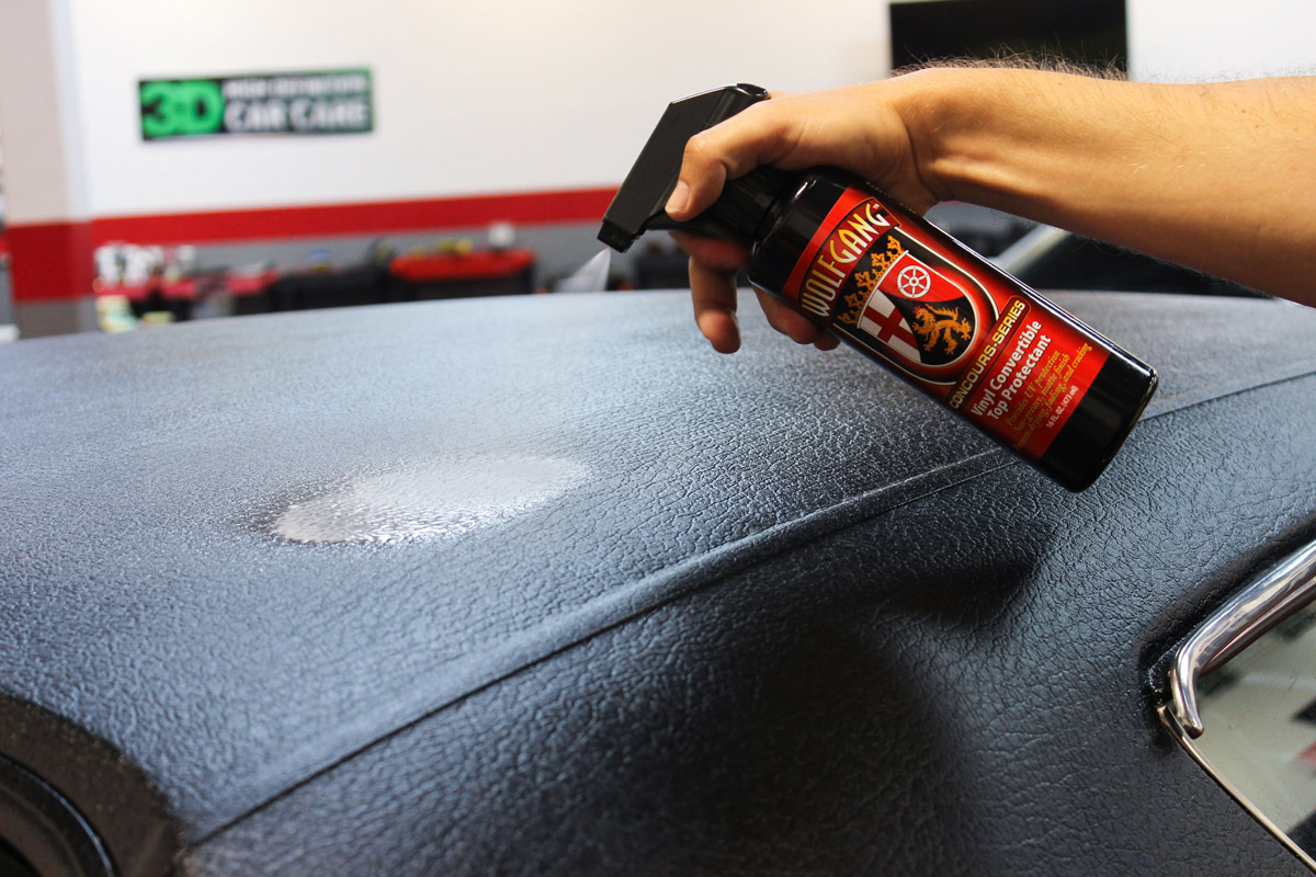Spray Wolfgang Vinyl Convertible Top Protectant directly onto your vinyl convertible top. Make sure to work in 2 x 2 ft. sections.