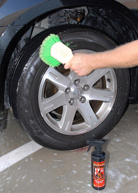 Use Wolfgang Tire & Wheel Cleaner to clean wheels and tires.