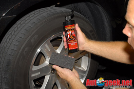 Use a Cobra Flex Foam Tire Applicator to apply Wolfgang Black Diamond Tire Gel.
