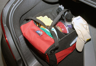 The  Autogeek Trunk Organizer fits perfectly in the corner of your trunk!