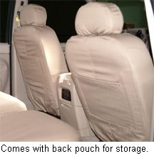 All front seat covers have a built-in storage pouch. Solid color shown here.