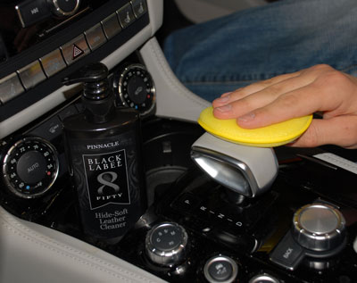Black Label Hide Soft Leather Cleaner cleans without removing oils from the surface
