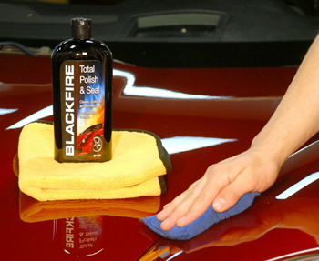 Blackfire Total Polish & Seal can be applied by hand.
