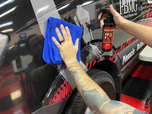 The Cobra Blue Dual-er Two-Pile Microfiber Towel is the perfect towel for Wolfgang Fuzion Spray Wax!