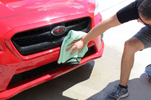 Dry the surface using a Guzzler Waffle Weave Drying Towel
