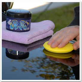 Use a soft foam or microfiber applicator, or your bare hands, to apply Dodo Juice Blue Velvet Wax.
