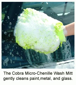 Wash your car with the Cobra Green Micro-Chenille Wash Mitt!
