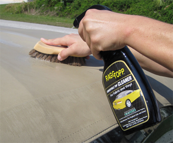 Use RaggTopp Vinyl/Fabric Cleaner to remove dirt from your convertible top.