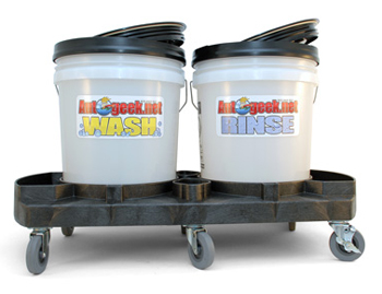 The Double Dolly two bucket wash system.