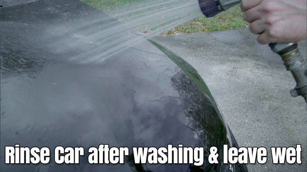 Rinse car after wash & leave wet.
