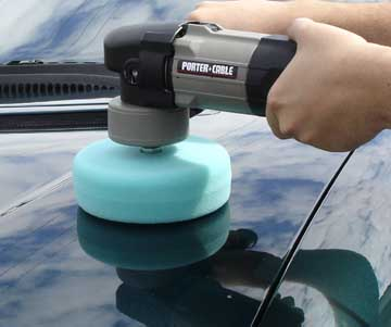 Porter Cable using The Edge Da Adaptor with a 6 inch foam pad