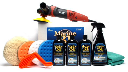 The FLEX PE14-2-150 and Marine 31 boat care products enable you to restore the gloss, shine and color to your boat in no time!