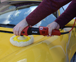 The FLEX PE14-3-125 Lightweight Circular Polisher polishes like a circular but is light and user friendly like a dual action buffer.