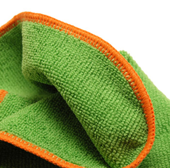 A stitched edging makes the Green SilverClean Microfiber Towel safe for any surface!