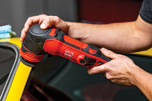 The G8 Polisher is perfect for use on niche areas like the A-Pillars of a car, shown here.
