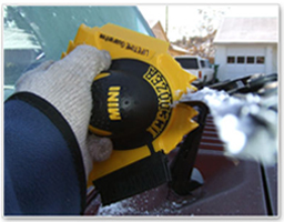 The Mini IceDozer Ice Scraper has a blade notch to clean frost off the wiper blades.