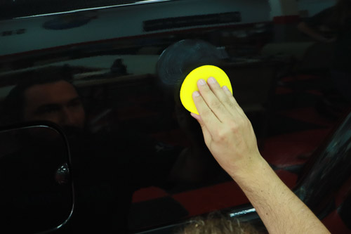 Apply a thin layer of product with a foam applicator.